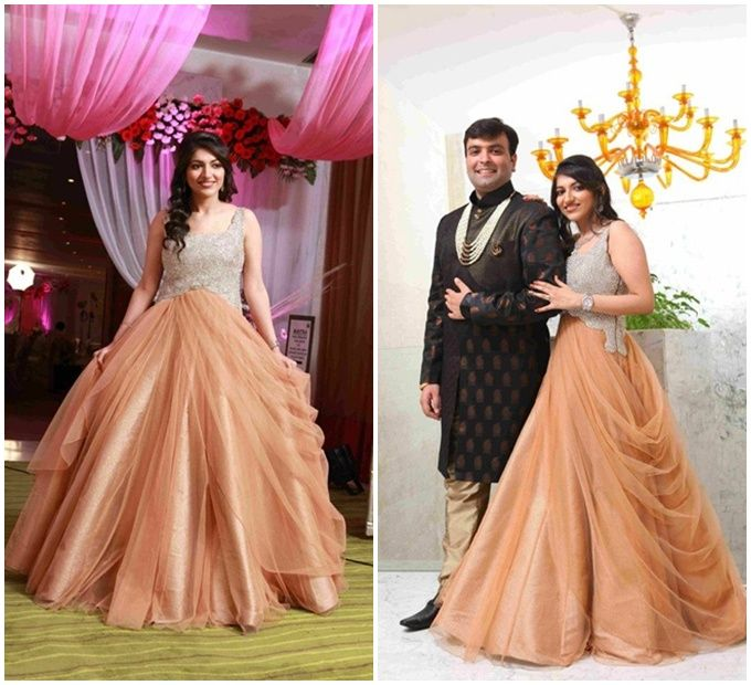Indo western gown for reception engagement weddings for How to dress for an evening wedding