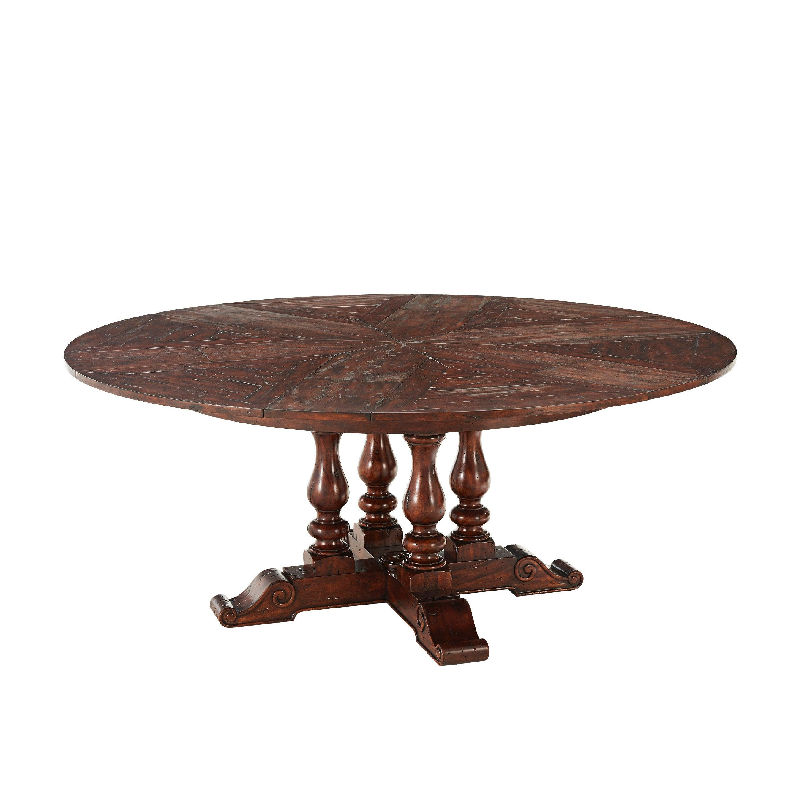 An Antiqued Wood Circular Extending Dining Table The Circular Top Impressive Dining Room Table With Pull Out Leaves Review