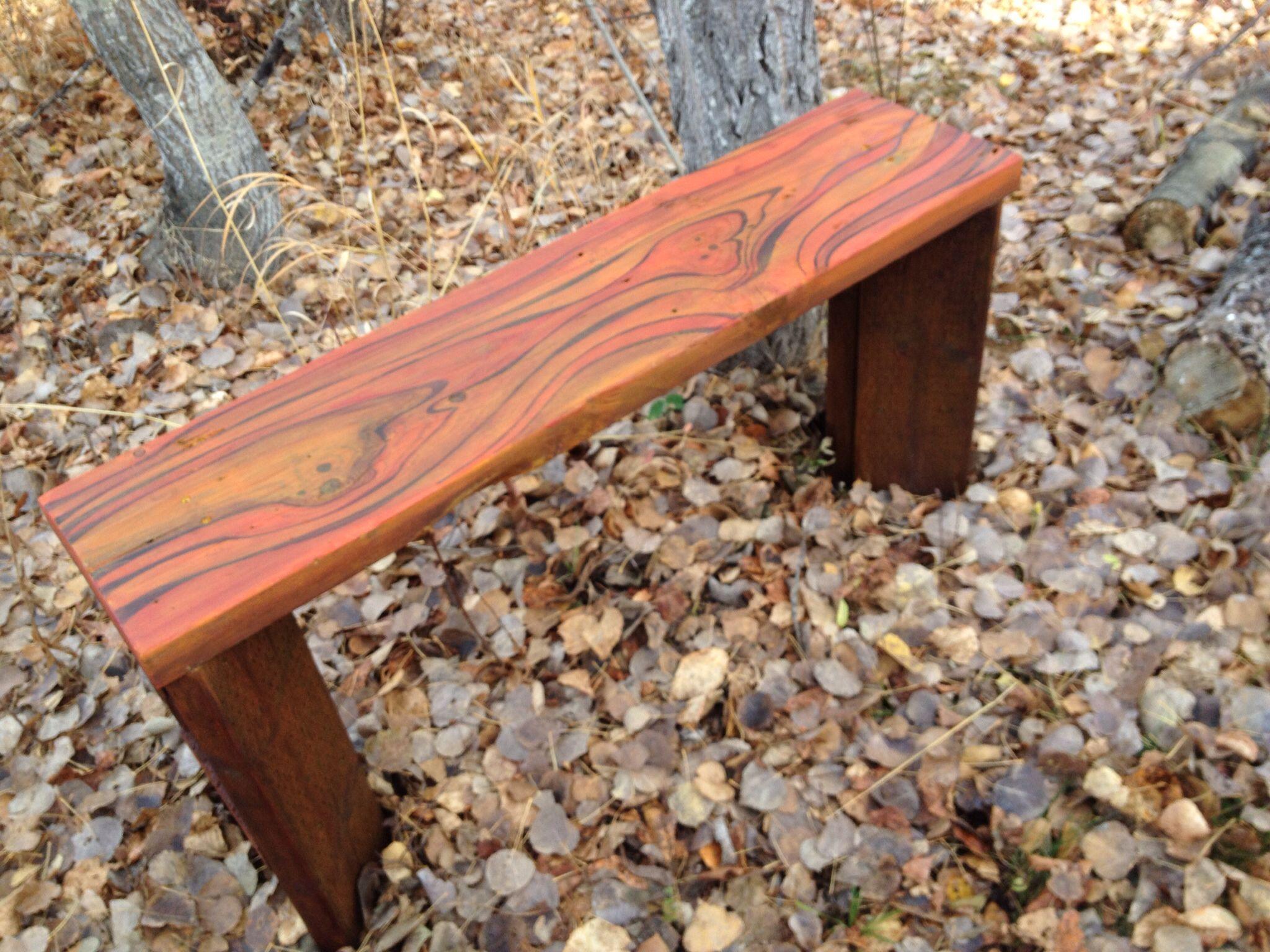 Rustic / Scrap wood garden bench. Natural wood grain enhanc… | Julie ...