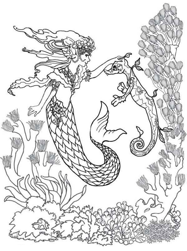 mermaid mermaid fairy and sea horse coloring pages - Coloring Pages Mermaids Realistic