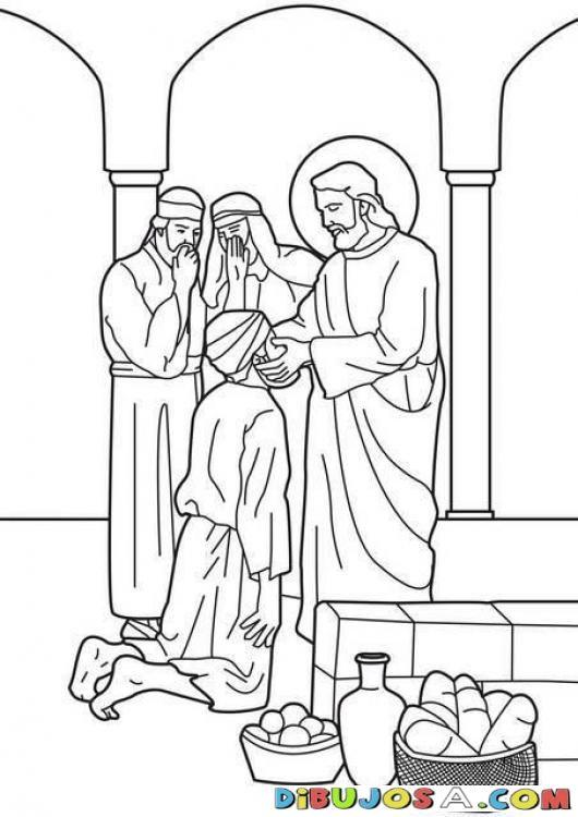 Dibujo para colorear de Jesus sanando al Ciego | COLOREAR BIBLICOS ...