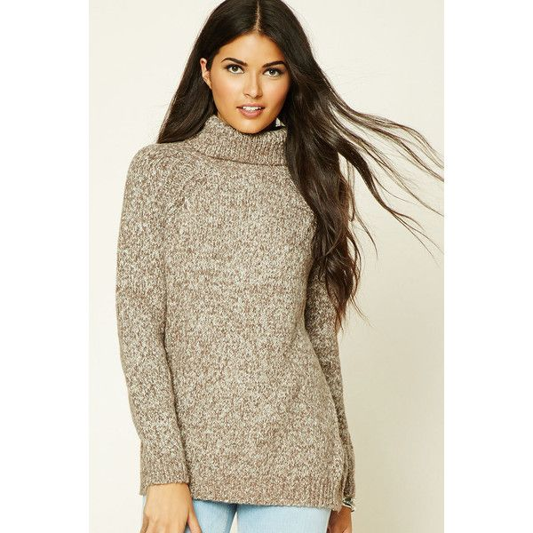Forever 21 Women's  Marled Knit Turtleneck Sweater ($23) ❤ liked on Polyvore featuring tops, sweaters, brown turtleneck sweater, turtle neck top, marled knit sweater, boxy sweater and turtleneck sweater