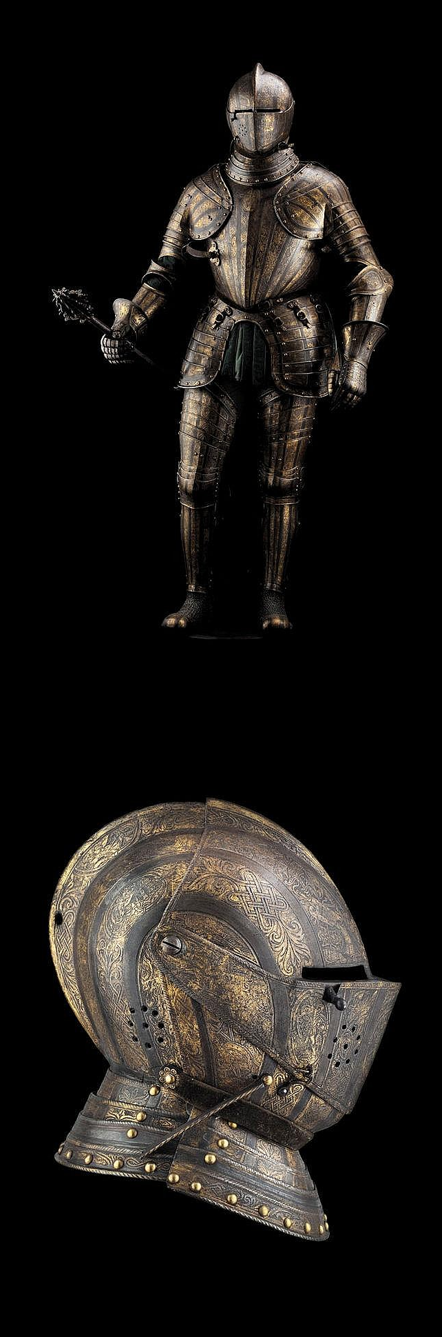 An exceptional North Italian etched blued and gilt full armour for the field, signed POMPE and attributed to the workshop of Pompeo della Cesa, circa 1585-1595.