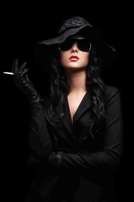 Woman Wearing Black With Hat Png Image Wearing Black Black Female Model Women Wear
