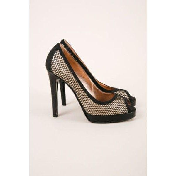 382e1b5469b Pre-Owned D G Dolce   Gabbana black nude Fishnet Peep Toe Pumps Sz ...