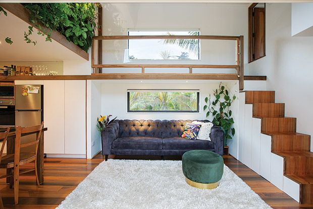 Springboard diver Shaye Boddington lands lightly on the planet with an innovative 14 sqm tiny house with a full height bedroom and walkway