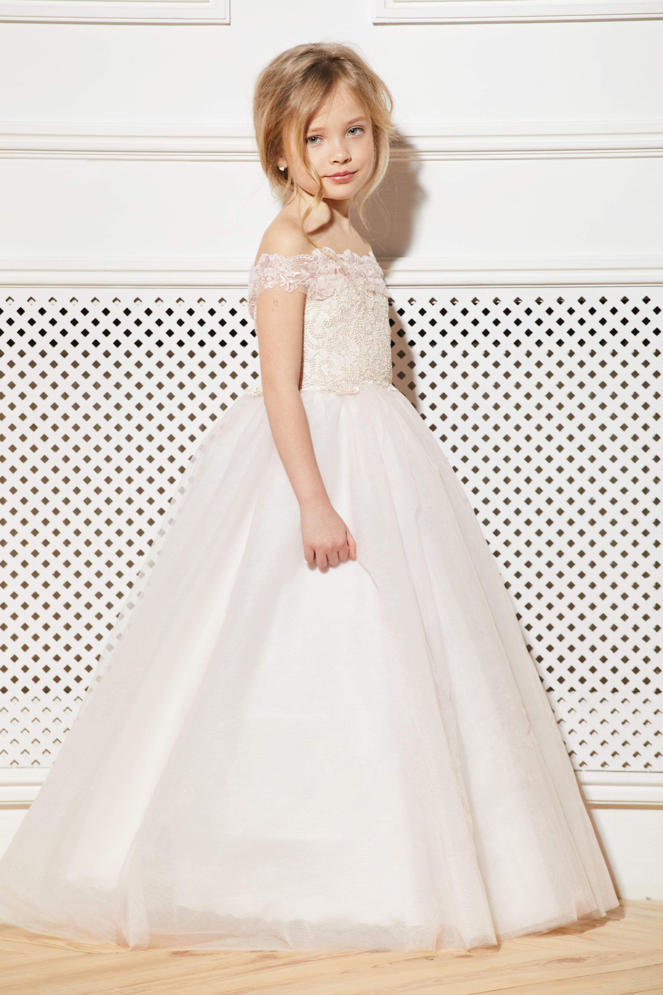 5be2a6324ab Blush Flower Girl Dress Cream Tulle Rose Guipure Tutu Birthday Wedding Kids  Pink Lace Satin Junior Bridesmaid Ballerina Baby Formal Party