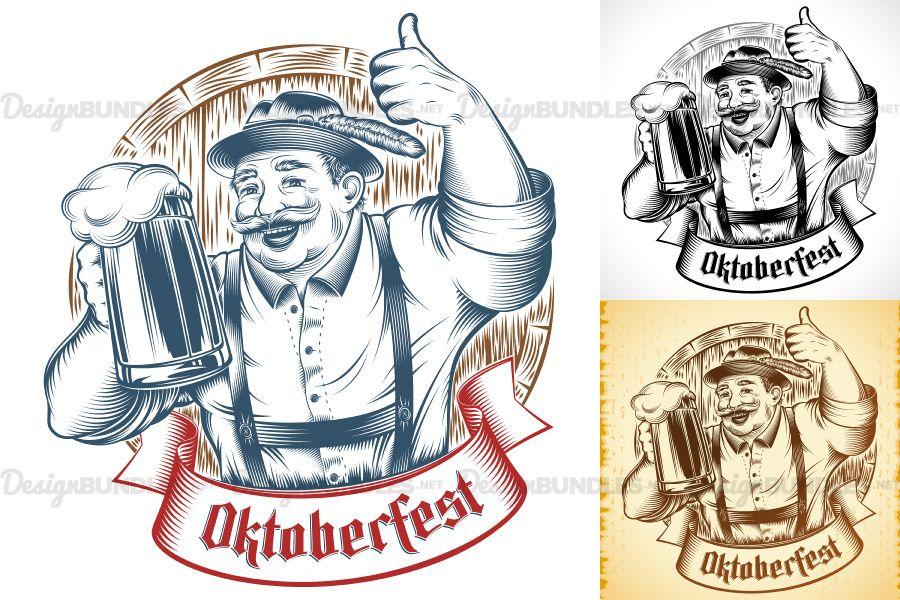 Download Vector Oktoberfest Beer Man Germany Glass Thumb Ink Barrel 31458 Illustrations Design Bundles Graphic Design Resources Illustration Design Illustration