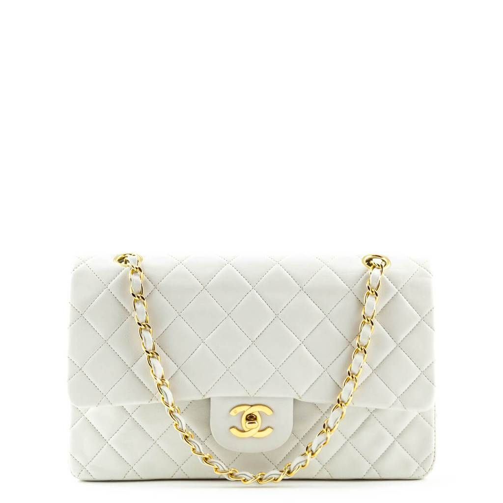 Chanel White Lambskin Medium Classic Double Flap GHW