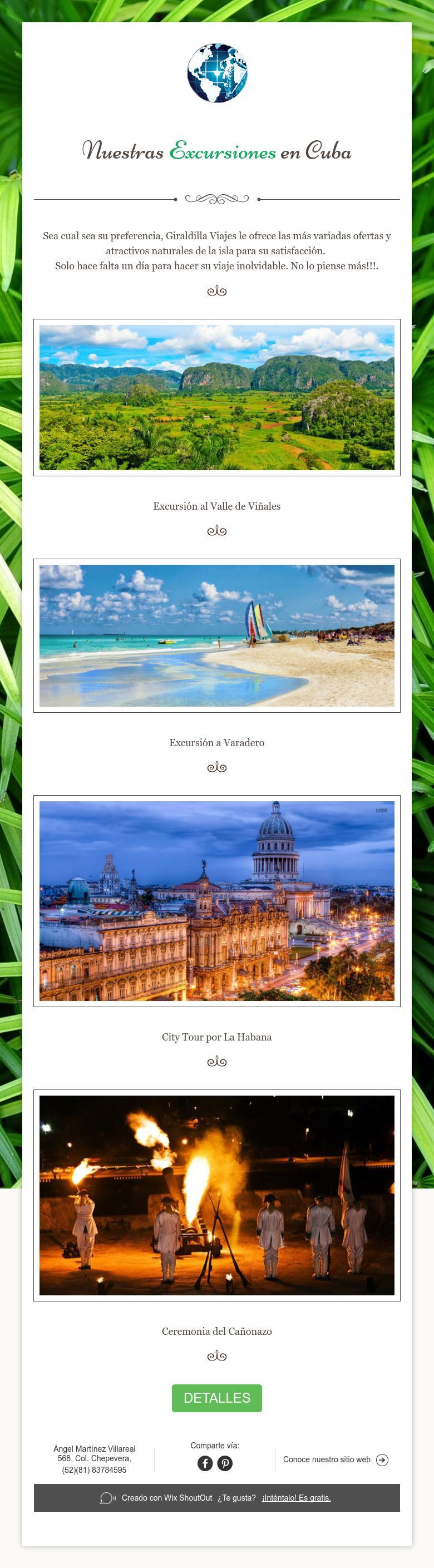 Nuestras Excursiones en Cuba
