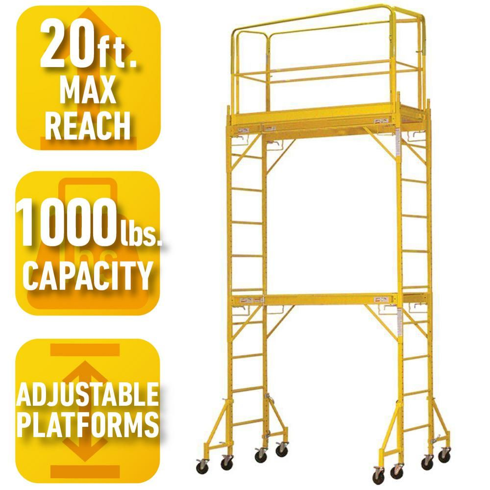 PRO-SERIES 12 ft. 2-Story Rolling Scaffold Tower with 1000 lb. Load ...