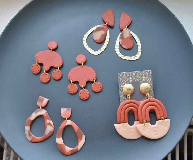 Terracotta Knitted clay statement arch drop earring