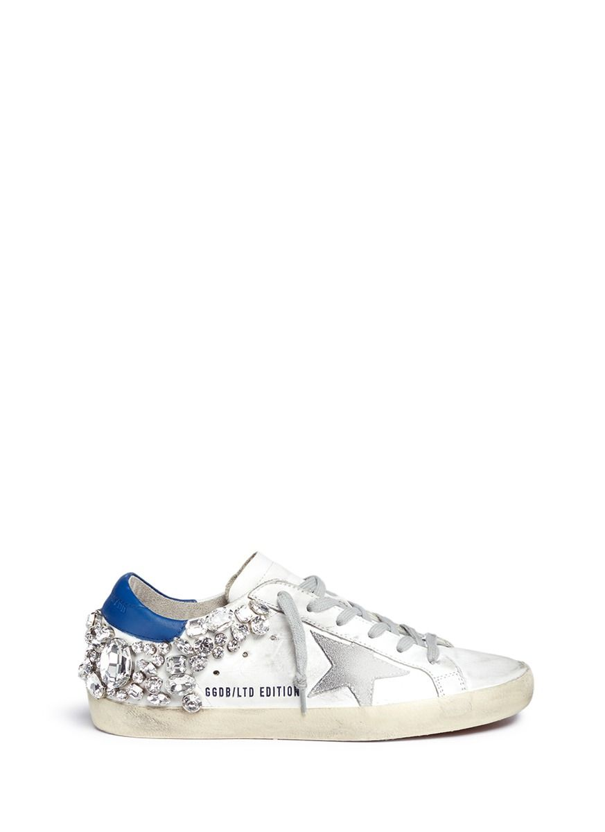 fcf2a1d0bb25 GOLDEN GOOSE 'Superstar' strass embellished smudged leather sneakers. # goldengoose #shoes #sneakers