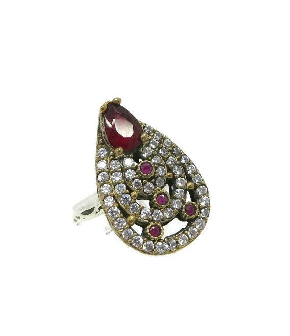 Ruby & Topaz Cocktail Ring, Vintage Sterling Silver Pear Shaped Ring, Size 8.25