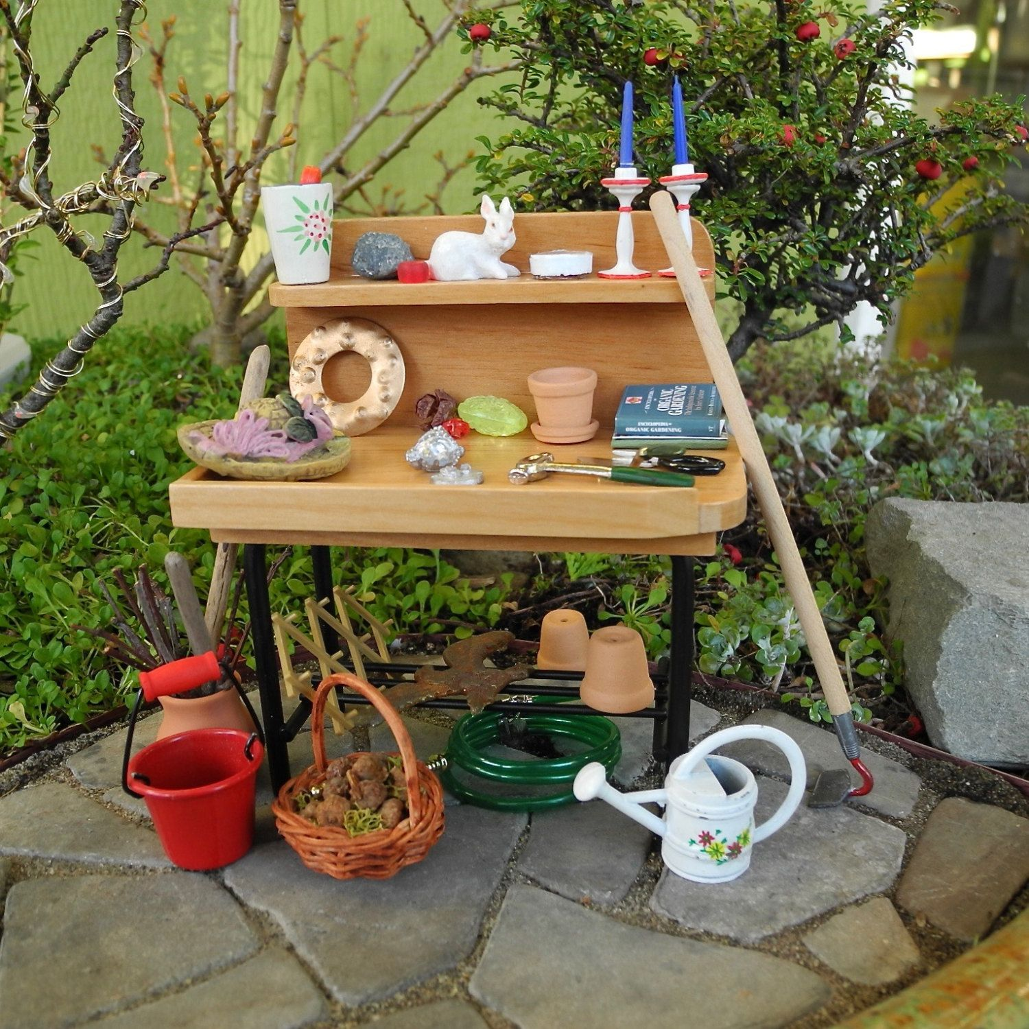 Surprising Miniature Garden Potting Bench Complete With Tools And Ncnpc Chair Design For Home Ncnpcorg