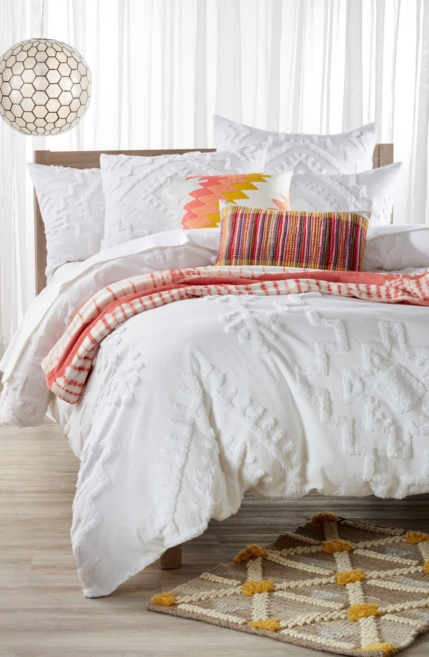 Currently Loving This White Duvet Cover That Is Patterned With Tufted Geometric  Shapes And Paired With