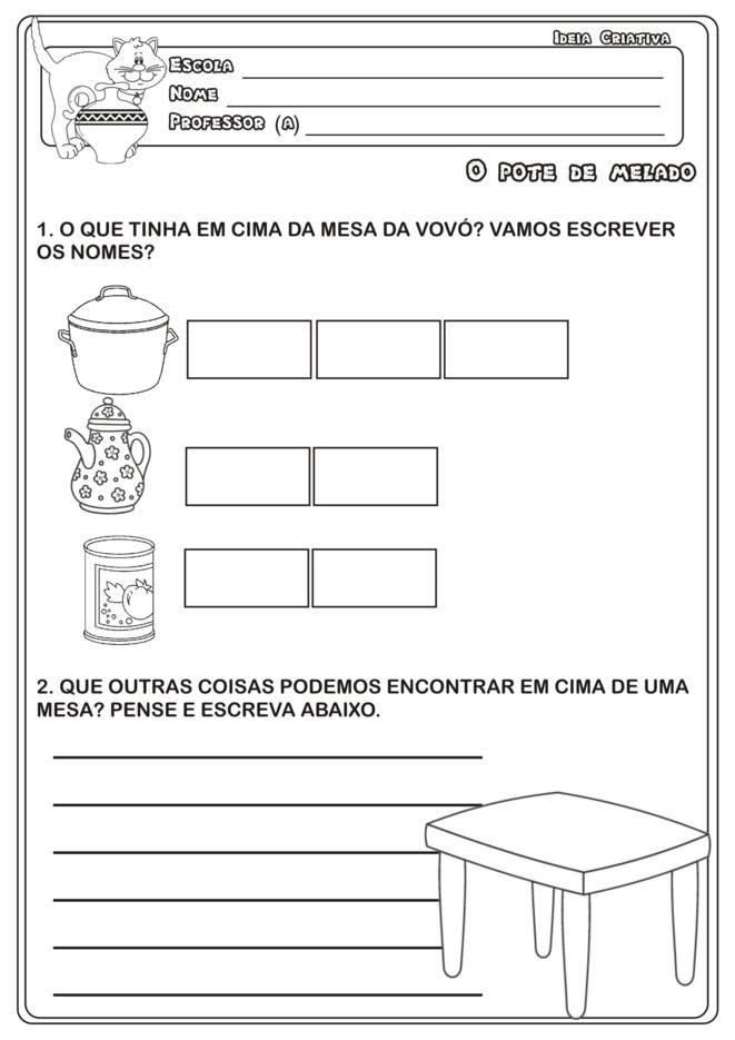 Caderno De Atividades O Pote De Melado Da Obra De Eliardo E Mary