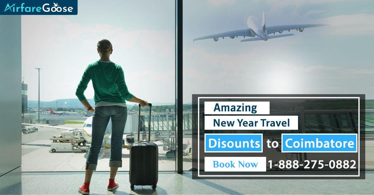If you're looking to travel during New Year's, Visit #Airfaregoose to get the best possible airfare. Experience great discounts on #Coimbatore flights. Reserve now!  For more information, call us at -1-888-275-0882 (Toll-Free).  #Travel #TravelDeals #NewYearTravelDeals #CelebrateNewYear #CheapAirlineTickets #BestFlightDeals #CheapFlightDeals #OnlineTicketReservation #Usa #India #Vacation #Destinations #TravelToCoimbatore