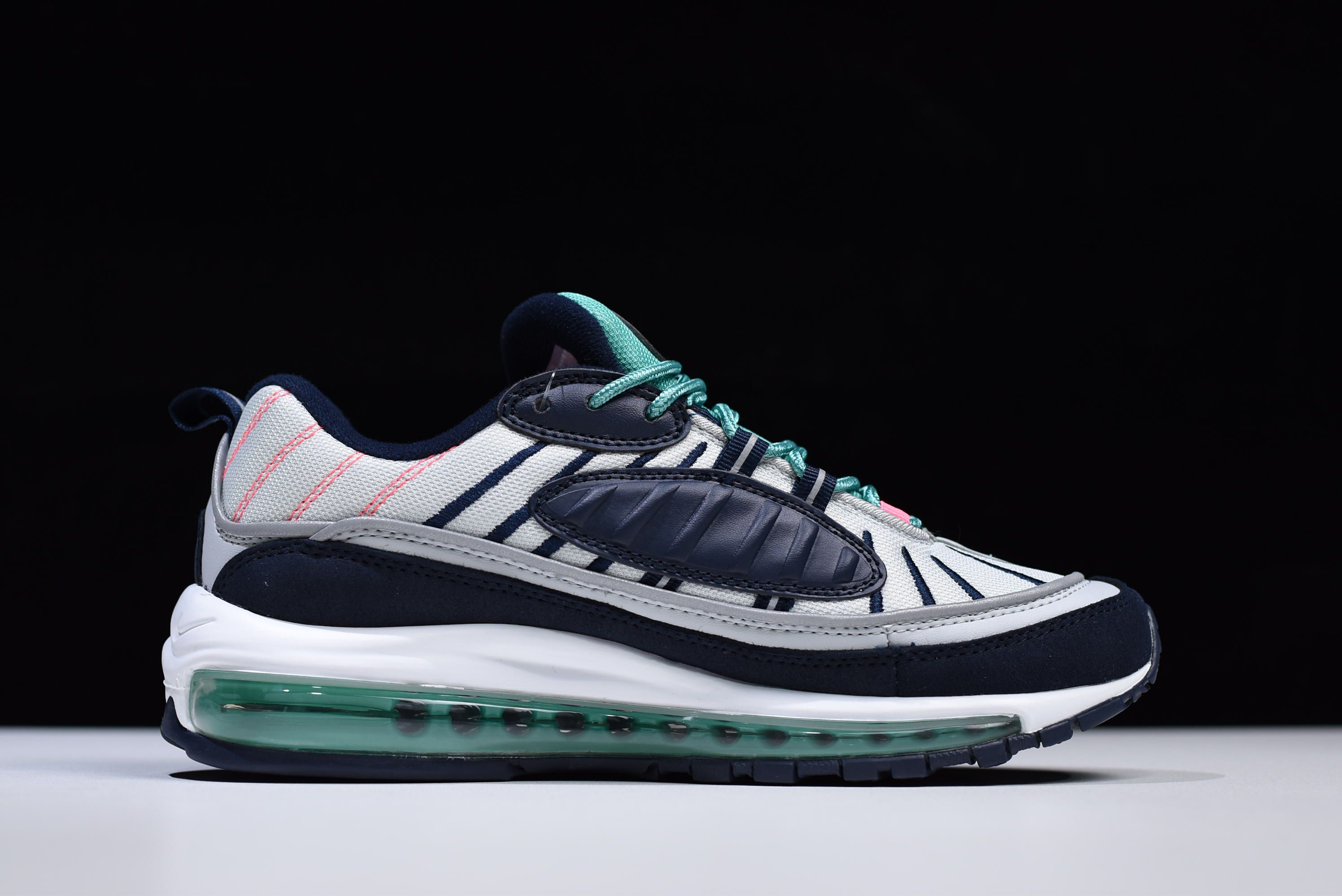 "00e95f7c83472c 2018 Nike Air Max 98 ""South Beach"" Pure Platinum Obsidian-Kinetic Green"
