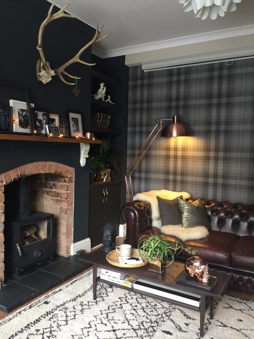 A Dark And Moody Home In England Home Living Room Wallpaper Living Room Snug Room