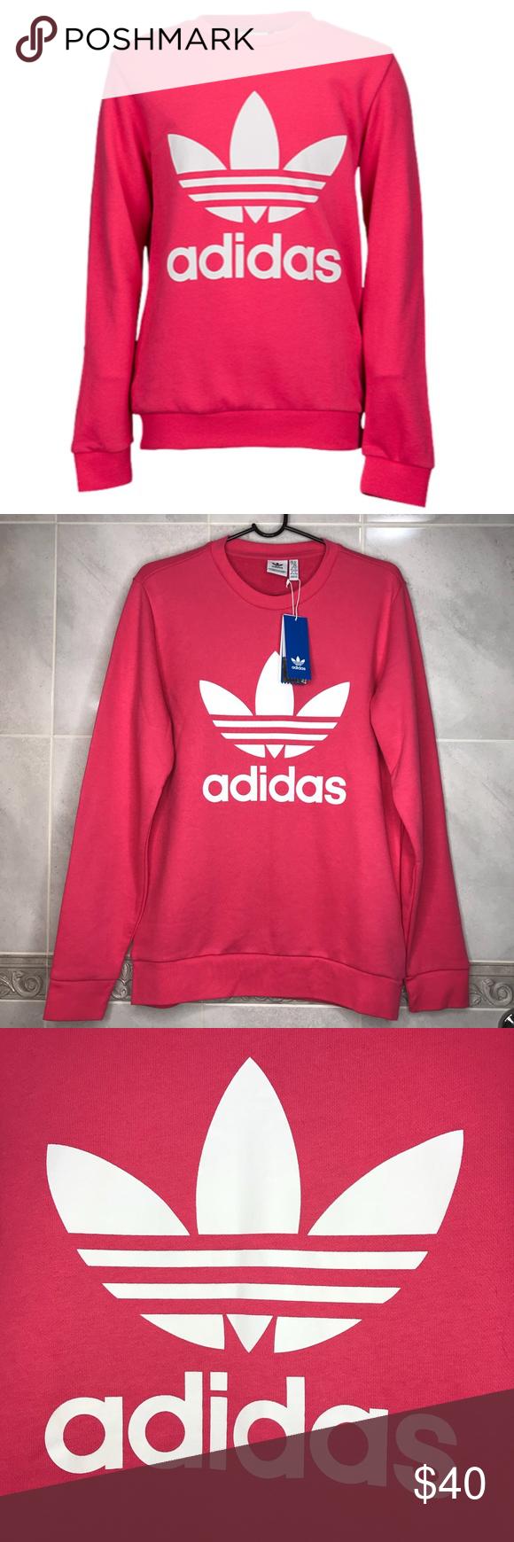 Nwt Adidas Originals Trefoil Pink Crewneck Sweater Pink Crewneck Crew Neck Sweater Pullover Styling [ 1740 x 580 Pixel ]