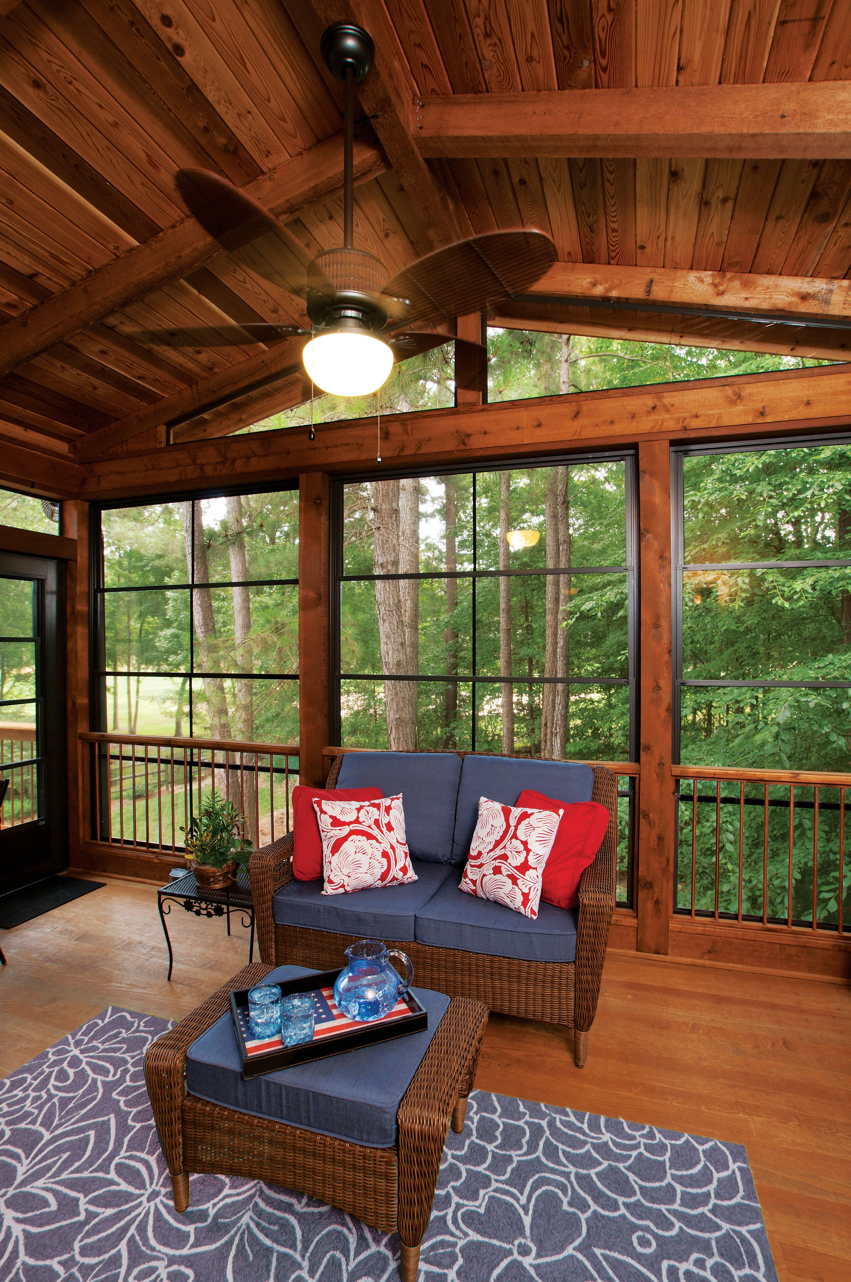 Three Season Porch With Eze Breeze 174 Windows Closed With Gable Ceiling Back Porch Designed And