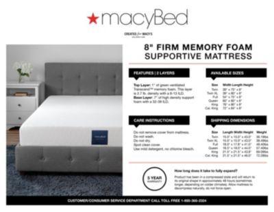 Macybed 8 Firm Memory Foam Mattress California King Mattress In