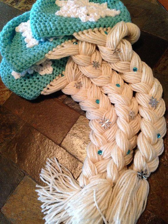 handmade elsa inspired frozen snowflake crochet hat