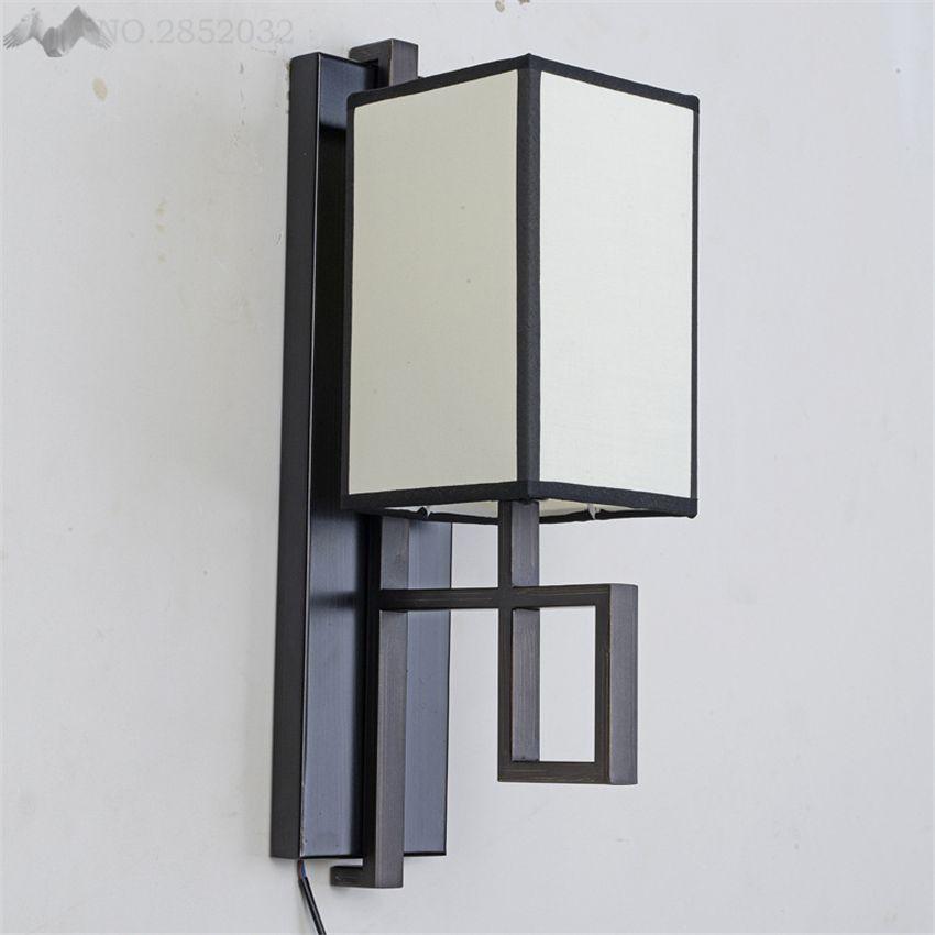 Pas cher Rétro style Chinois mur lampe, antique sculpture sur Bois ...