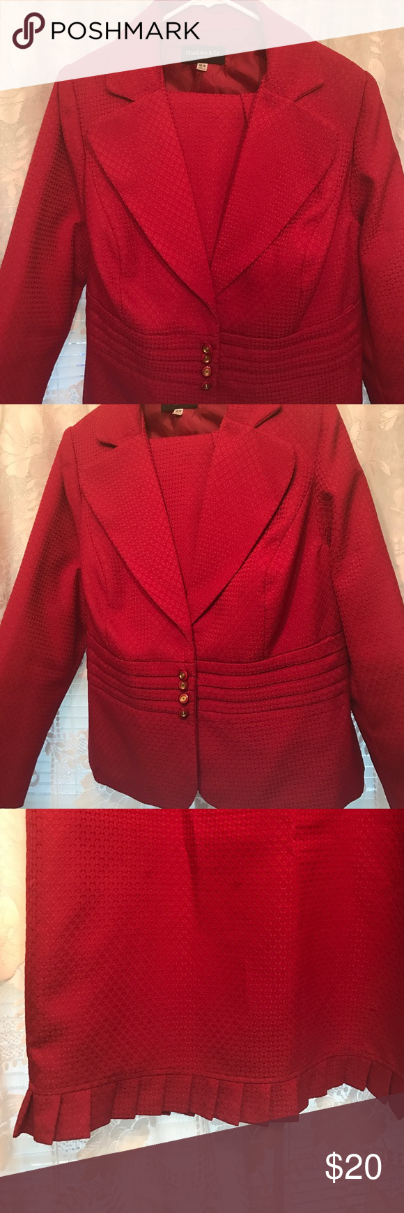 Nice 2 pc burgundy suit sz 16w Beautiful suit!! Such a beautiful color!!! The jacket is 44 inches armpit to armpit and 44 inches seam to seam in the waist area. Gorgeous neat little ruffles at the hem!!  Length is 49 inches from top to bottom, mock buttons at the waist, snaps in 3 snaps inside. Skirts length is 56 inches, waist is 39 inches with elastic in the back of the skirt. In gently used condition. Dry clean only. Other