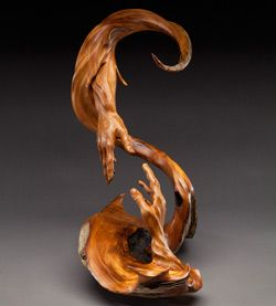 Reaching Others :: Wood Carved Sculpture