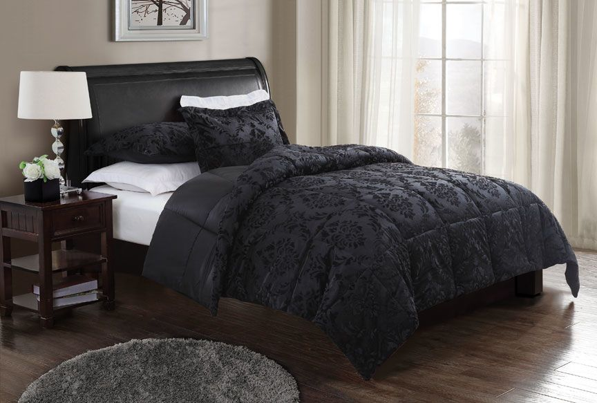 in damask w piece black htm size queen set comforter white grey p