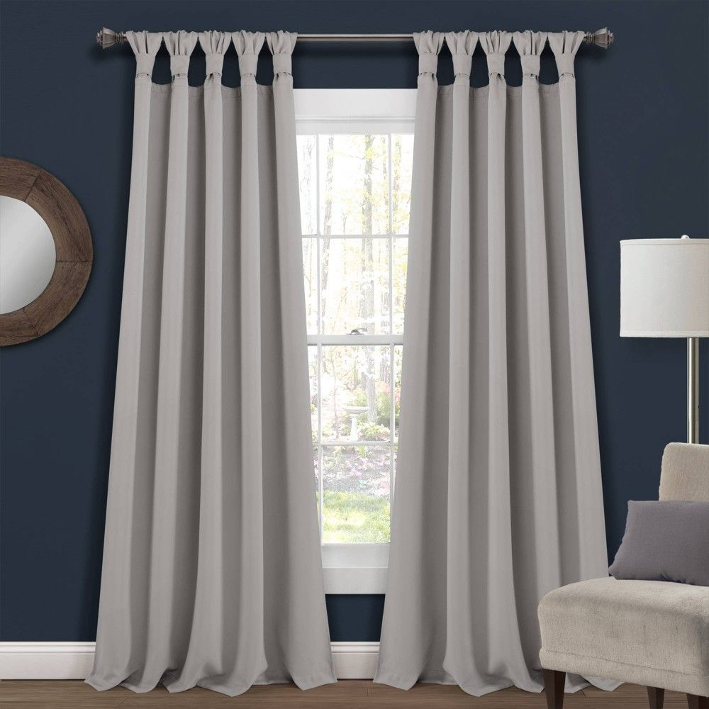 Set Of 2 52 X95 Insulated Knotted Tab Top Blackout Window Curtain