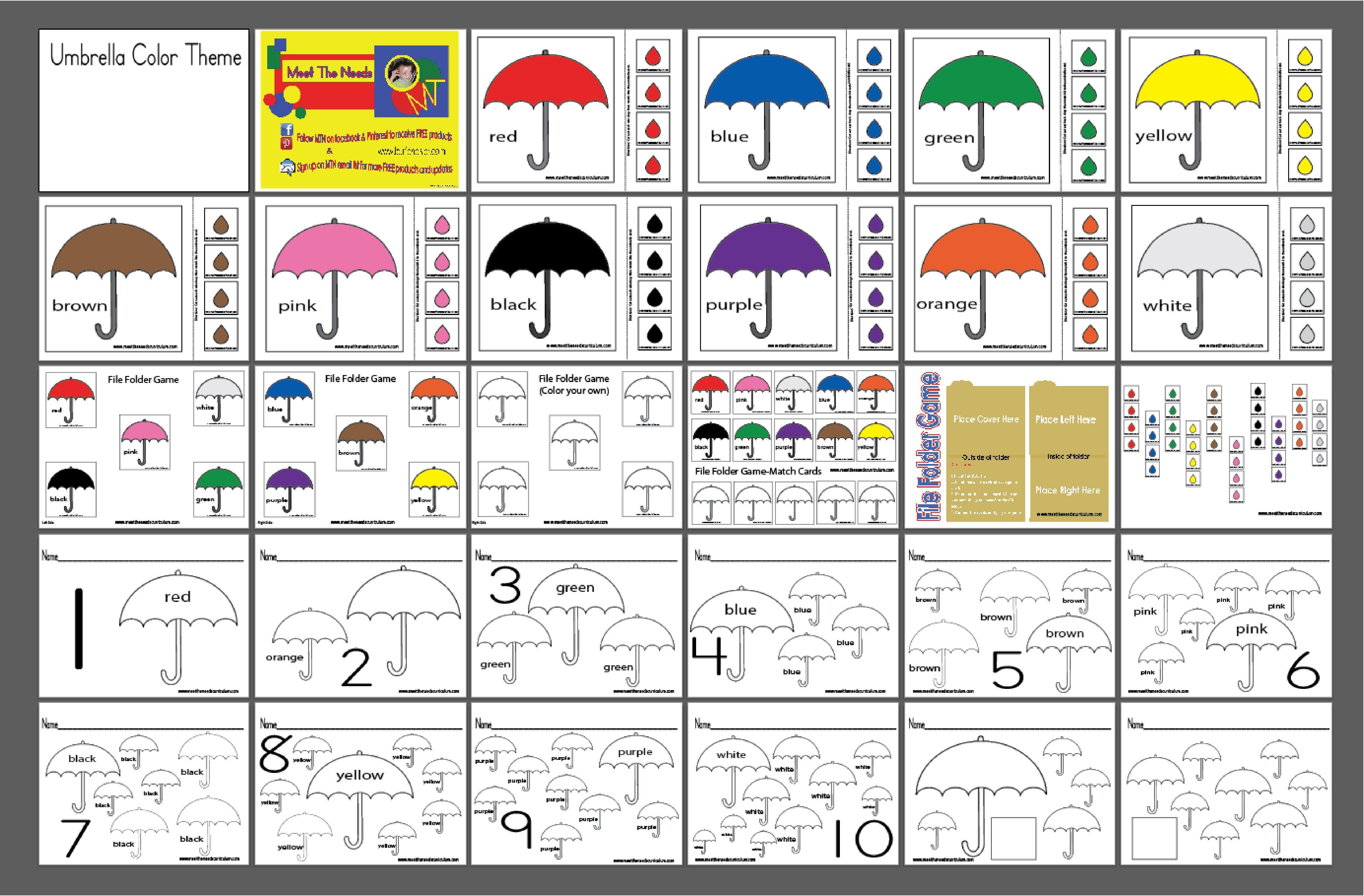 Umbrella Color Set Amp File Folder Game