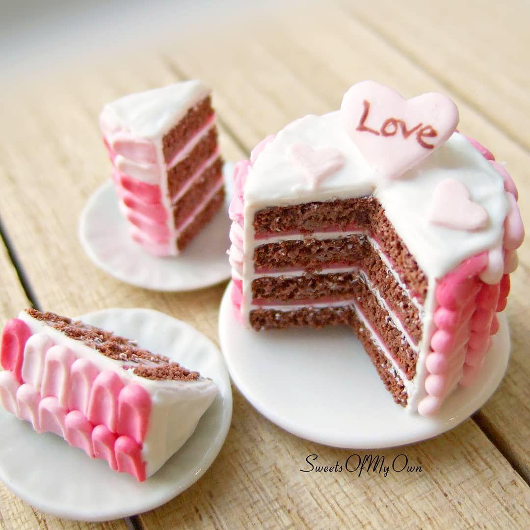 Dolls House Miniature White Iced Heart Cake