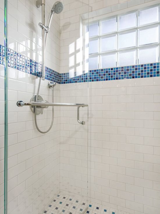 Fresh White Blue Accent Shower Tile Ideas Contemporary Bathroom