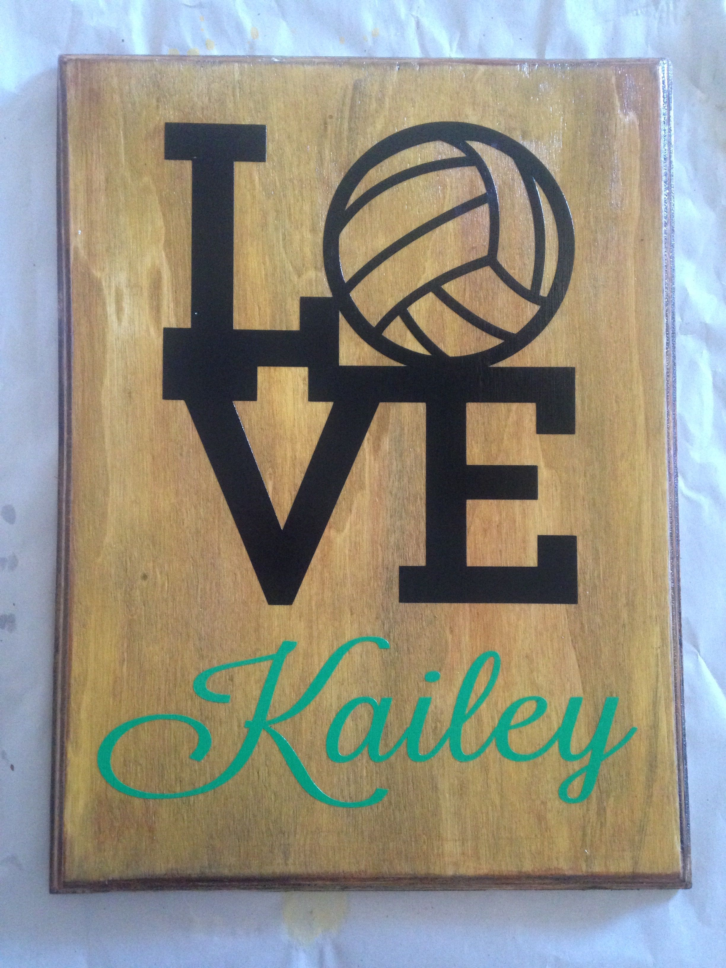 Vinyl On Wood Volleyball Sign Painted Signs Volleyball Signs Painting On Wood