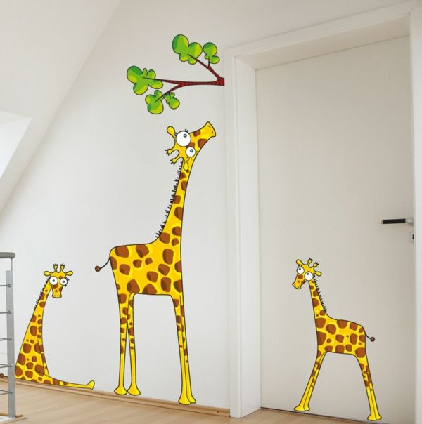 Kinderzimmer wandgestaltung giraffe  Wandsticker Kinderzimmer - Farbe und Freude an der ...