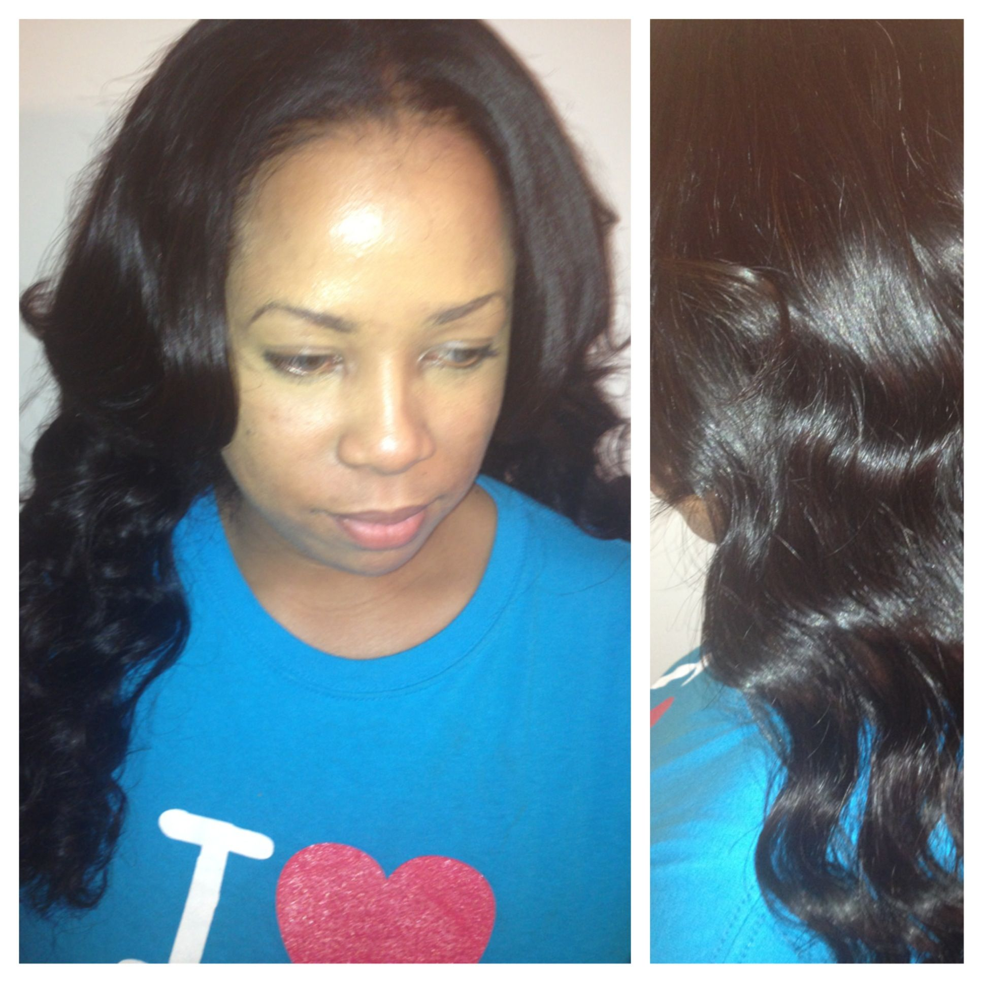 Middle Part Sew In Malaysian Wavy Virgin Hair Luxe Lengths
