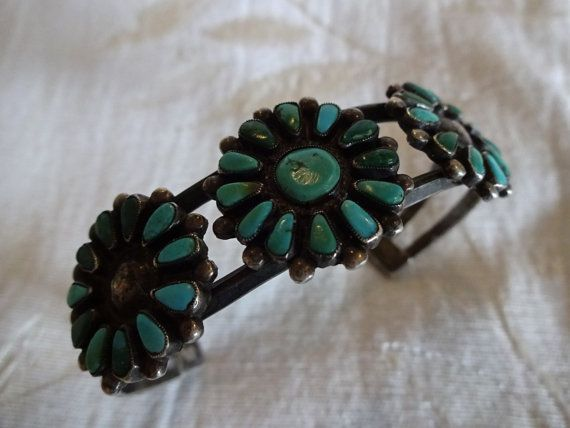 Old 1930s to 1940s Classic ZUNI Petit Point TURQUOISE Cluster Cuff BRACELET