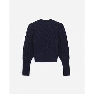 The Kooples - Pull laine mélangée bleu col rond - FEMME