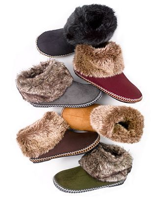 Isotoner Slippers, Woodlands Microsuede Faux Fur Boot - Handbags & Accessories - Macy's $26