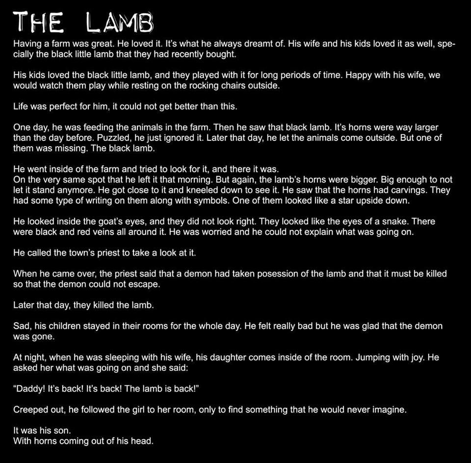 Uncategorized Spooky Stories For Little Kids didnt trap the demon only released it scary stories creepypasta picture story lamb