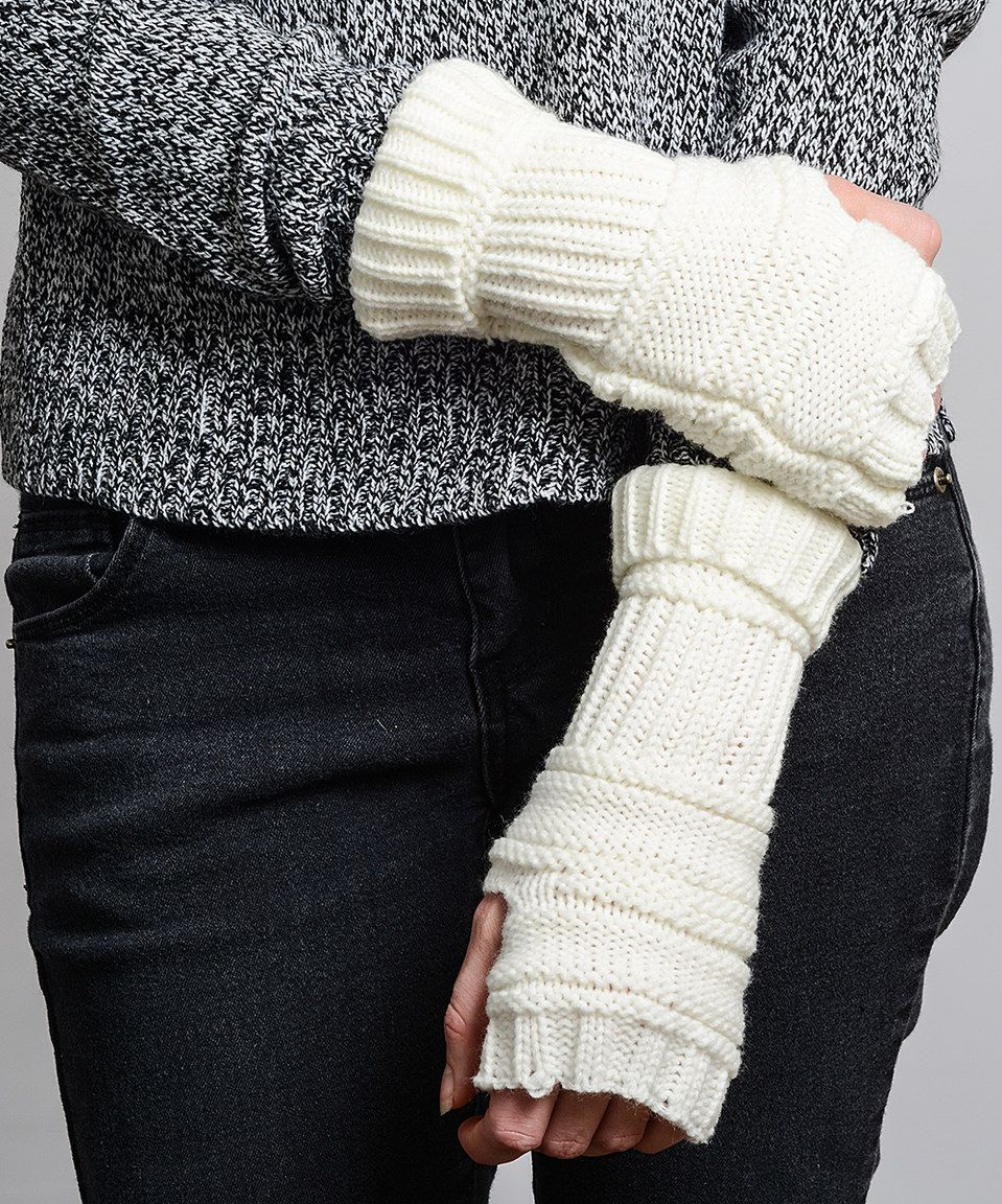 Leto Collection Ivory Ribbed Arm Warmers by Leto Collection #zulily #zulilyfinds