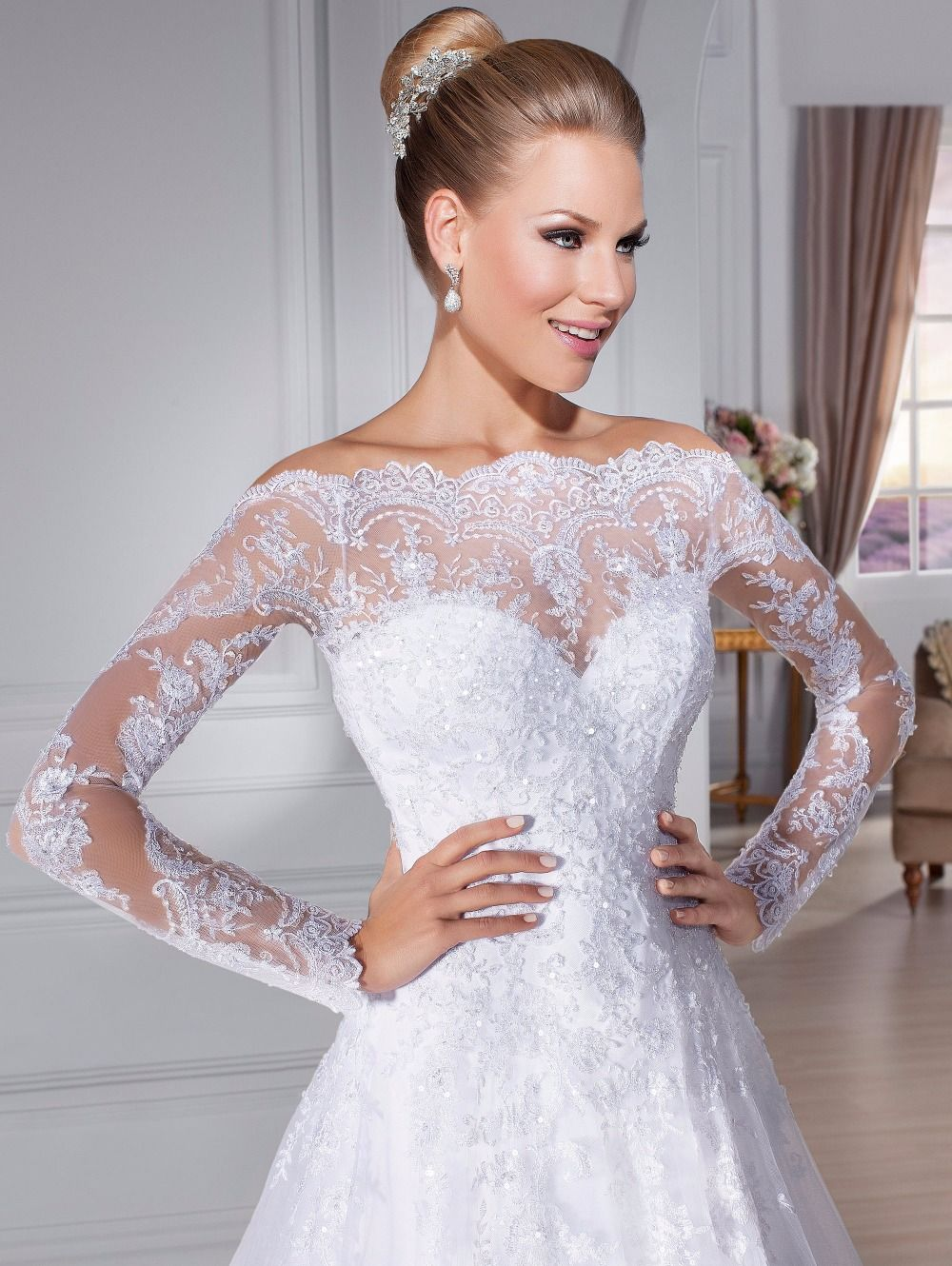 Beautiful latest off shoulder lace appliques long sleeve wedding