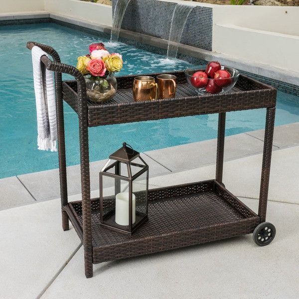 Wicker Outdoor Bar Cart In Brown Color Tone With Metal Frames And Wheels    Ca... | Casa Morales | Pinterest | Outdoor Bar Cart, Bar Carts And Metals
