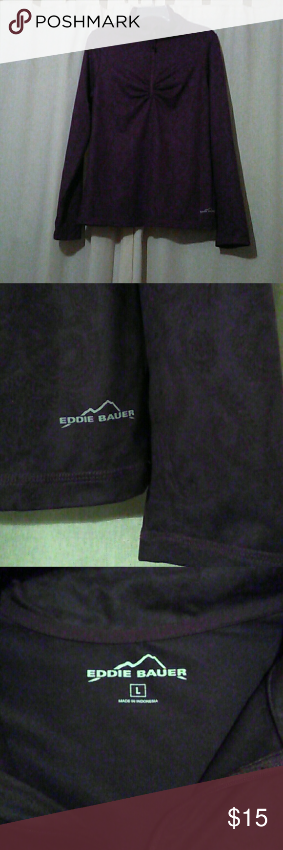 NWOT/Eddie Bauer Top or Jacket Size L/ deep purple heavy top or light Jacket. 90% polyester 10% spandex. Last picture is taken with flash so you can see the design. True color is dark purple. Very soft to the touch. Eddie Bauer Jackets & Coats