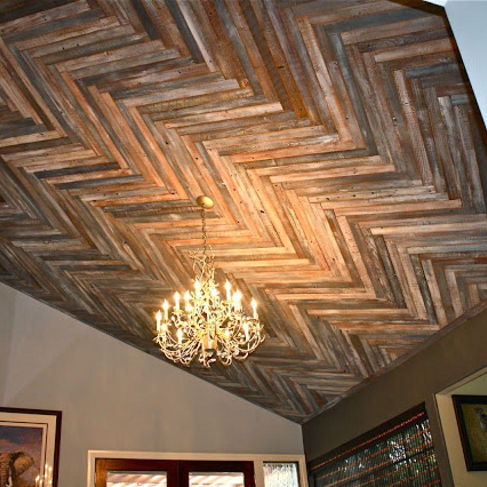 Makemeprettyagain reclaimed wood herringbone pattern for Wood ceiling ideas