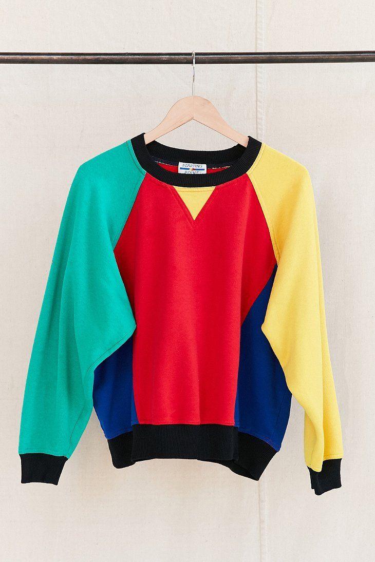 Vintage Color Block Sweatshirt Color Block Sweatshirt Thrift Store Fashion Colour Blocking Fashion