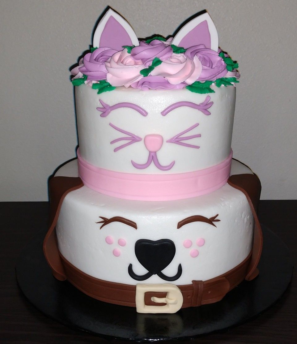 Kitty And Puppy Cake Puppy Birthday Cakes Second Birthday Cakes Puppy Cake